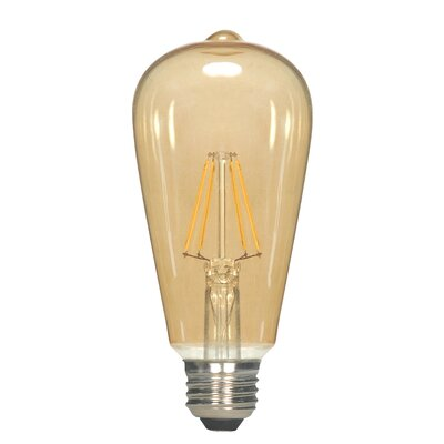 Amber E26 Medium LED Vintage Filament Light Bulb Wattage: 6.5, Lumens: 650