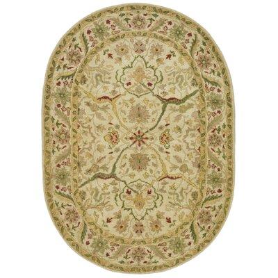 Dunbar Hand-Woven Wool Ivory Area Rug Rug Size: Oval 46 x 66