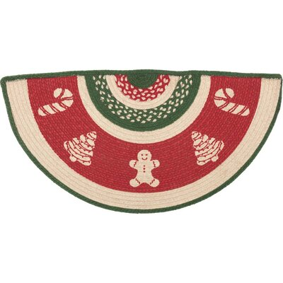 Anding Christmas Cookies Half Circle Cotton Red Area Rug Rug Size: Half Circle 14.5 x 29