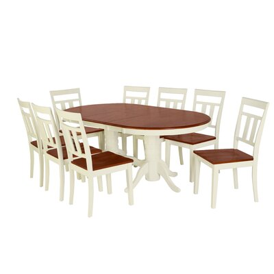 Alvy 9 Piece Dining Set Color: Cherry/Off-white