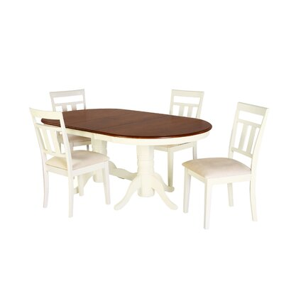 Alvy 5 Piece Dining Set Color: Cherry/Off-white