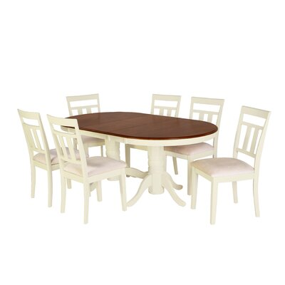 Alvy 7 Piece Dining Set Color: Cherry/Off-white