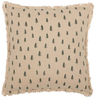 Alverez Vintage Burlap Tree 100% Cotton Throw Pillow