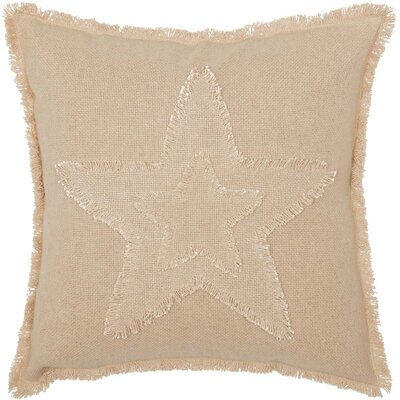 Castilleja Vintage Burlap Star 100% Cotton Throw Pillow