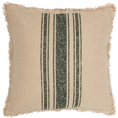 Lembo Vintage Burlap Stripe 100% Cotton Throw Pillow Color: Green