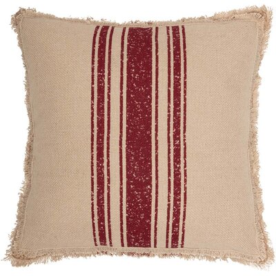 Lembo Vintage Burlap Stripe 100% Cotton Throw Pillow Color: Red