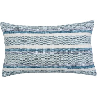 Caf� Stripe Cotton Throw Pillow Color: Aqua