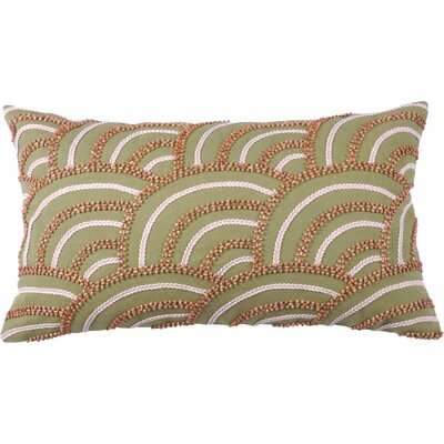 Beaded Scallop 100% Cotton Lumbar Pillow Color: Avocado