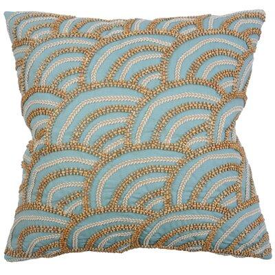Beaded Scallop 100% Cotton Throw Pillow Color: Aqua