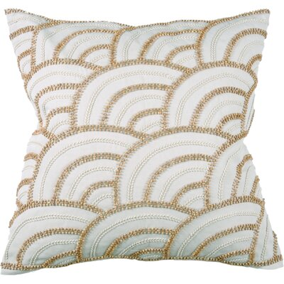 Beaded Scallop 100% Cotton Throw Pillow Color: Cream
