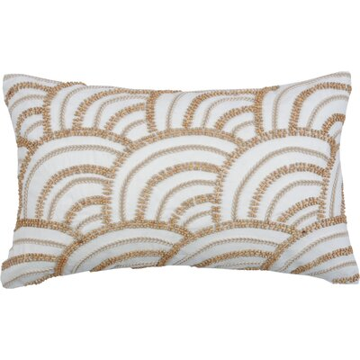 Beaded Scallop 100% Cotton Lumbar Pillow Color: Cream