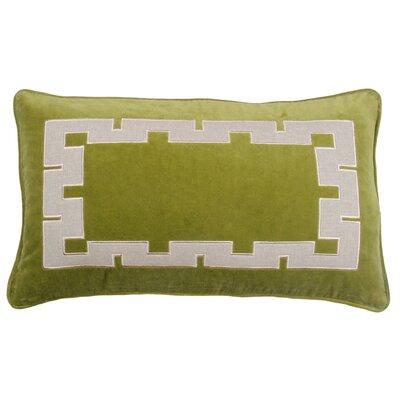 Agean Key Velvet Lumbar Pillow Color: Avocado