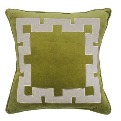 Agean Key Velvet Throw Pillow Color: Avocado