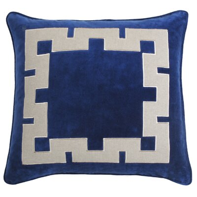 Agean Key Velvet Throw Pillow Color: Cobalt