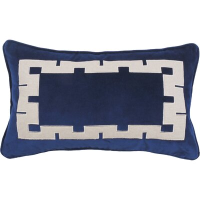 Agean Key Velvet Lumbar Pillow Color: Cobalt