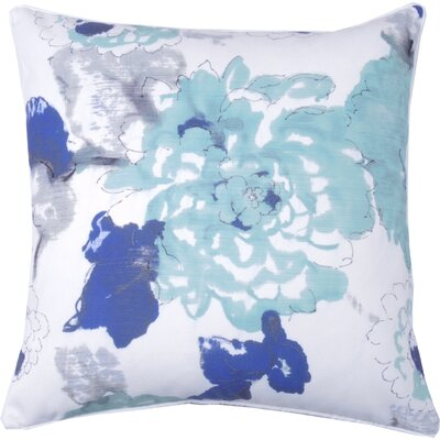 Floral Watercolor Throw Pillow Color: Aqua