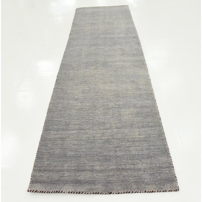 Bottrell Solid Hand-Knotted Wool Gray Area Rug Rug Size: 2 7 x 9 10