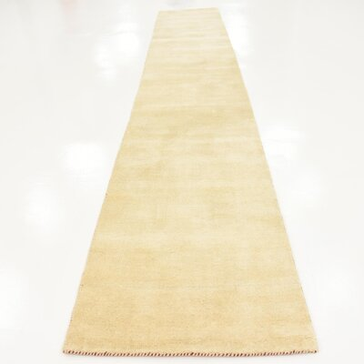 Taul Hand-Knotted Wool Beige Area Rug Rug Size: 2 7 x 16 5