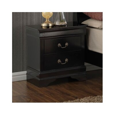 Sahil 2 Drawer Nightstand Color: Black