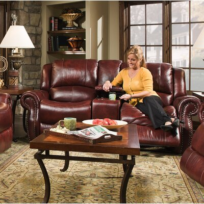Additri Leather Reclining Loveseat
