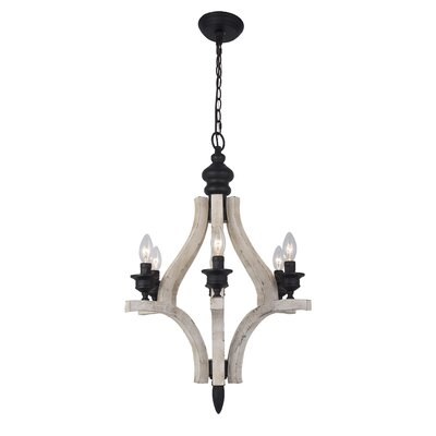 Everalda�Washed-Wood 6-Light Candle-Style Chandelier