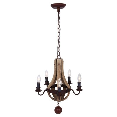 Drusilla Wooden 5-Light Candle-Style Chandelier