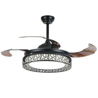 42.5 Farleigh Hungerford Semi-Flush 4 Blade LED Ceiling Fan with Remote Finish: Black