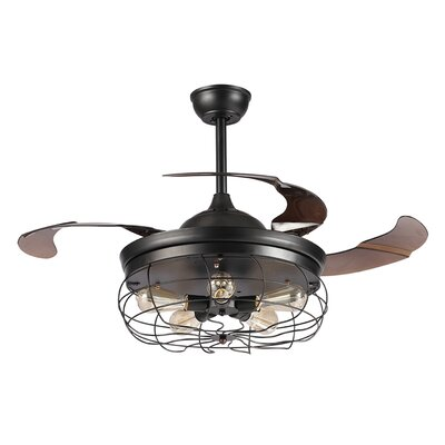 42.5 Benally 4 Blade Ceiling Fan with Remote Finish: Black