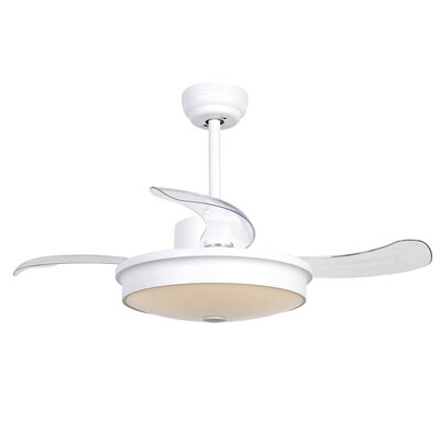 37.5 Englert Modern 4 Blade LED Ceiling Fan with Remote Finish: White