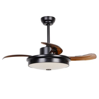 37.5 Englert Modern 4 Blade LED Ceiling Fan with Remote Finish: Black