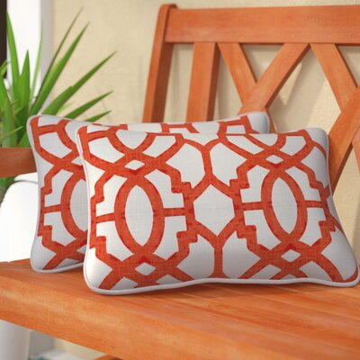 Claflin Indoor/Outdoor Lumbar Pillow Color: Mango, Size: 11.5 H x 18.5 W
