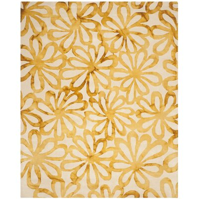 Hand-Tufted Beige & Gold Area Rug Rug Size: Rectangle 8 x 10