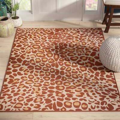 Emeline Cocoa Leopard Brown Area Rug Rug Size: 53 x 73