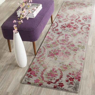 Arianna Ivory/Pink Area Rug Rug Size: Runner 2'2