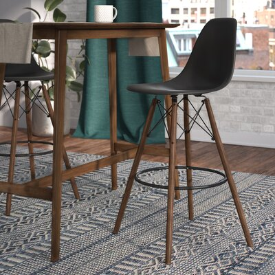Alyssa 25.5 Bar Stool Finish: Black/Walnut