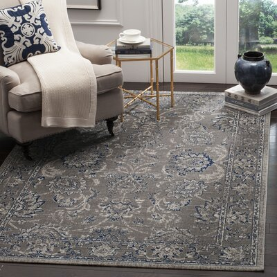 Harwood Cotton Dark Gray/Blue Area Rug Rug Size: Rectangle 51 x 76