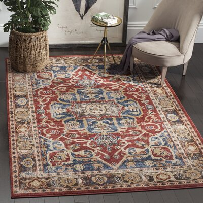 Broomhedge Red/Beige Area Rug Rug Size: Rectangle 53 x 76