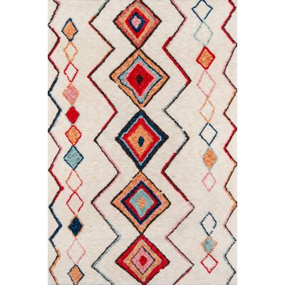 Bungalow Olivia Hand-Tufted Red/Cream Area Rug Rug Size: Rectangle 5 x 76