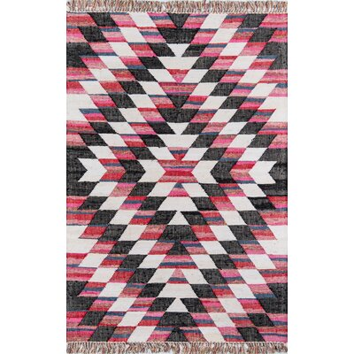 California Temecula Hand-Woven Cotton Pink/Black Area Rug Rug Size: Rectangle 26 x 4