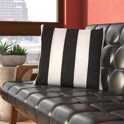 La Jara Stripe Throw Pillow Size: 18 H x 18 W, Color: Gray / Ivory, Filler: Polyester