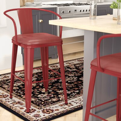 Maliyah 36 Bar Stool Finish: Red