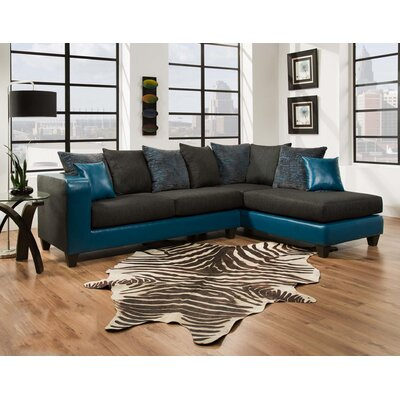 Whitlatch Sectional Upholstery: Black/Blue