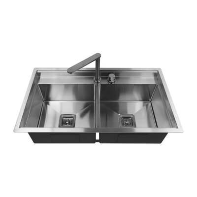 36 x 10 Double Basin Drop-In Kitchen Sink with Faucet