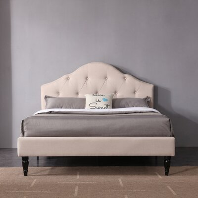Etelvina Upholstered Platform Bed Color: Off White, Size: Queen
