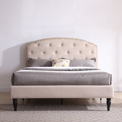 Evendale Upholstered Platform Bed Color: Off White, Size: Queen