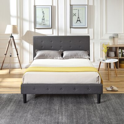 Lind Upholstered Platform Bed Color: Gray, Size: Queen