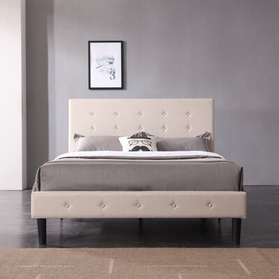 Lind Upholstered Platform Bed Color: Off White, Size: Queen