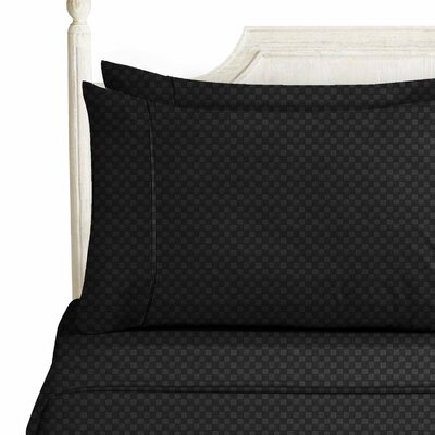 Sterrett Elegant Embossed Design Sheet Set Size: Queen, Color: Black