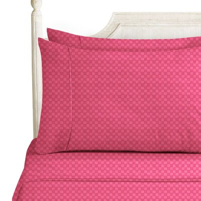 Sterrett Elegant Embossed Design Sheet Set Size: Full, Color: Red