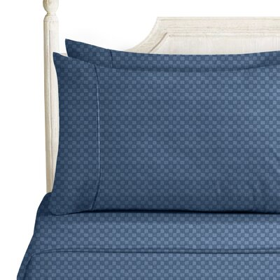 Sterrett Elegant Embossed Design Sheet Set Size: Full, Color: Navy